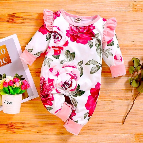 Floral Print Ruffled Long-sleeve Baby Jumpsuit